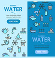 pool and water signs banner vecrtical set vector image vector image