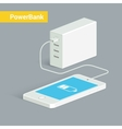 Powerbank charging a white smartphone Isometric vector image vector image