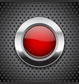 red button on metal perforated background round vector image vector image