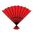red open hand fan icon cartoon vector image vector image