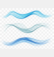 set abstract blue waves vector image vector image