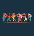 set disco dancing people vector image vector image