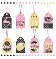 set easter hand drawn lettering tags vector image