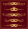 set of decorative gold masks vector image vector image