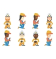 set of miner and plumber characters vector image