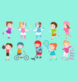 sport kids characters boys and girls vector image vector image