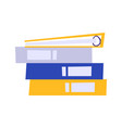 stack stationery folders with documents office vector image