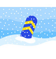 striped snowboard partially peeks out snow vector image