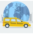 taxi car on town background vector image vector image