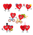 two hearts doing funny activities together couple vector image