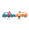 two men with two cars accident cartoon vector image vector image