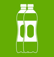 two plastic bottles icon green vector image vector image