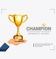 winner award champion trophy poster vector image vector image