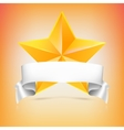 Yellow star with ribbon vector image vector image
