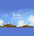 summer vacation concept man backpacker enjoy view vector image