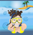 girl swims in a mask in blue water vector image
