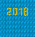 2018 new year knitted blue template background vector image vector image