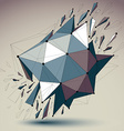 Abstract low poly wrecked object with black lines vector image vector image