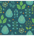 Abstract Seamless Pattern with Leaves and Flower vector image vector image