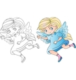 Angel fairy girl outline vector image