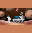 astronaut and rover scene vector image vector image