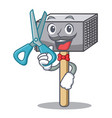 barber character of metallic meat tenderizer vector image vector image
