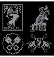 bikers theme labels with biker manmotorbike and vector image vector image
