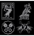 bikers theme labels with biker manmotorbike vector image