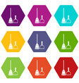 broom and dustpan icon set color hexahedron vector image vector image