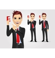 businessmen pointing to business card vector image vector image