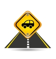 car yellow road street sign vector image