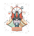 carnival mask with panoramic wheel vector image