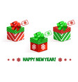 cartoon new year green-red gifts vector image vector image