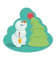 cartoon snowman near the christmas tree with a sta vector image