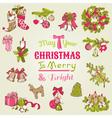 Christmas Card - with set of hand drawn christmas vector image