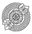 Circle summer doodle flower in mandala vector image vector image