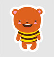 cute little bear in cartoon style wearing bee t vector image vector image