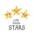 cute little stars - fun hand drawn nursery poster vector image