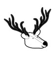 deer cartoon head in black silhouette with thick vector image vector image