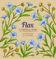 flax branches frame on color background vector image