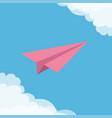 flying origami pink paper plane cloud in corners vector image vector image