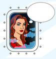 girl in the airplane window pop art vector image vector image