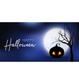 halloween banner with spooky pumpkin against vector image vector image