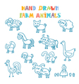 Hand drawn farm animals vector image