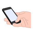 hand holds a smartphone with a blank screen vector image