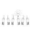 Hands drawing lightbulbs vector image