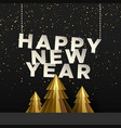 happy new year card gold paper cut pine tree vector image vector image
