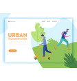 healthy lifestyle sport people landing page vector image vector image