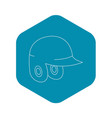 helmet for baseball or softball icon outline style vector image vector image