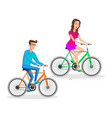 hipsters woman and man riding bicycle bicyclist vector image